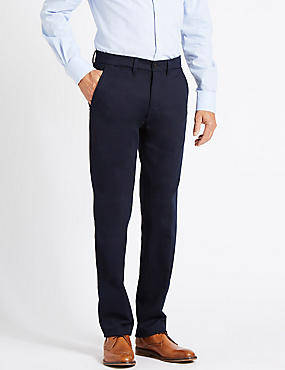 Straight Fit Cotton Trousers with Stretch