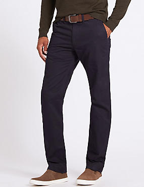 Straight Fit Chinos with Belt, NAVY, catlanding