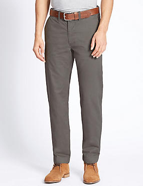 Straight Fit Chinos with Belt, GREY, catlanding