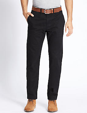 Straight Fit Chinos with Belt, BLACK MIX, catlanding