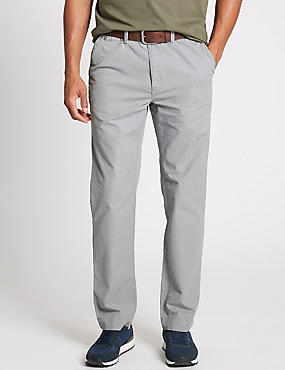 Straight Fit Pure Cotton Chinos with Belt