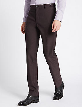 Cotton Stretch Slim Fit Flat Front Chinos