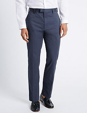 Slim Fit Pure Cotton Trousers with Stretch