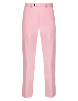 Cotton Rich Flat Front Trousers Clothing