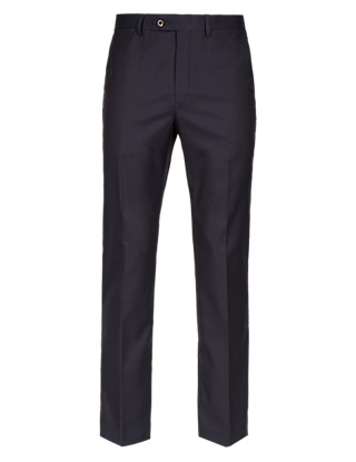 Pure Cotton Flat Front Herringbone Trousers Clothing