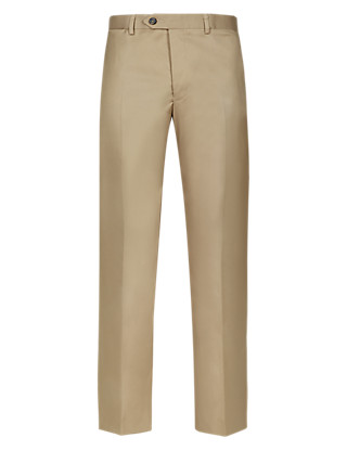 Pure Cotton Herringbone Flat Front Trousers Clothing