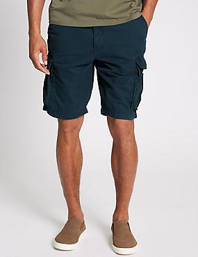 Pure Cotton Authentic Cargo Shorts, NAVY, catlanding