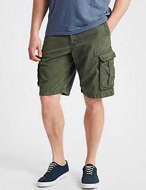 Pure Cotton Authentic Cargo Shorts, KHAKI, catlanding