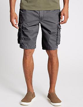 Pure Cotton Authentic Cargo Shorts, CHARCOAL, catlanding