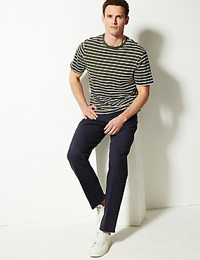 Pure Cotton Regular Fit Chinos, NAVY, catlanding