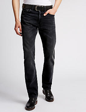 Washed Slim Fit Jeans with Belt