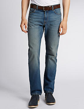 Washed Straight Fit Jeans with Belt