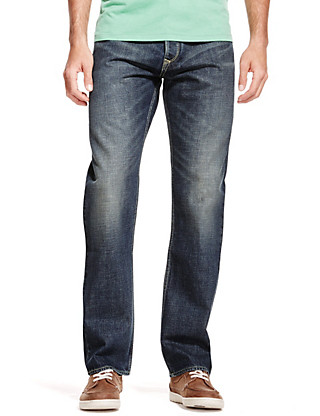 Authentic Washed Relaxed Fit Denim Jeans Clothing