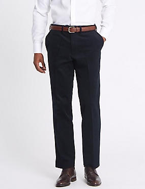 Tailored Fit Cotton Rich Corduroy Trousers, NAVY, catlanding