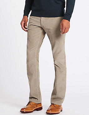Straight Fit Pure Cotton Textured Chinos