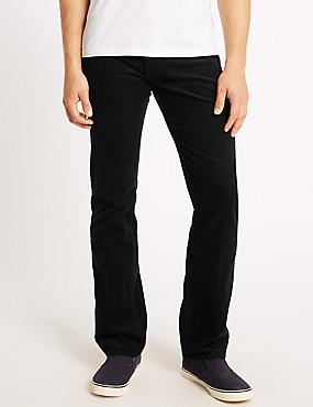 Regular Fit Pure Cotton Corduroy Trousers, BLACK, catlanding