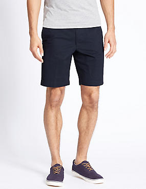 Pure Cotton Shorts with Adjustable Waist, NAVY, catlanding