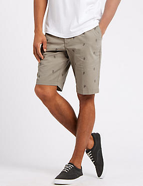 Pure Cotton Cactus Design Chino Shorts, NATURAL, catlanding
