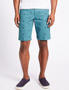 Pure Cotton Palm Embroidered Shorts, BLUE, catlanding