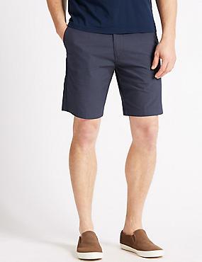 Big & Tall Cotton Rich Checked Chino Shorts, NAVY, catlanding