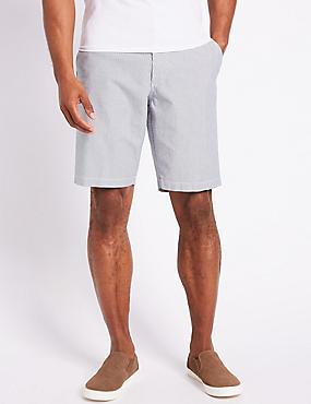 Pure Cotton Striped Chino Shorts, NAVY MIX, catlanding
