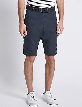 Cotton Rich Lightweight Belted Shorts, NAVY, catlanding