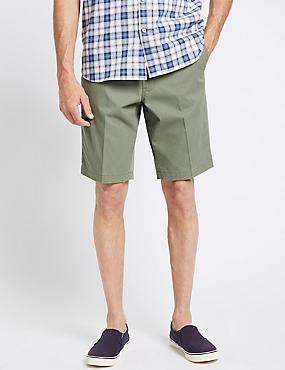 Cotton Rich Lightweight Belted Shorts, GREEN, catlanding