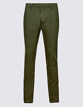 Skinny Fit Cotton Rich Chino Trousers, KHAKI, catlanding
