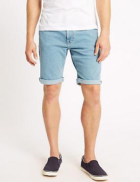 Denim Shorts with Stretch, LIGHT BLUE, catlanding