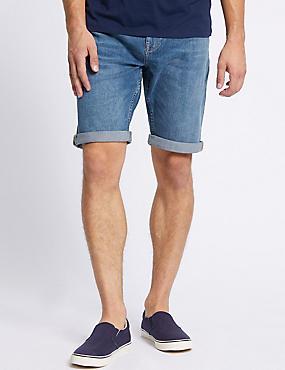 Denim Shorts with Stretch, MEDIUM BLUE, catlanding