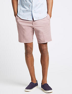Cotton Rich Chino Shorts with Stretch , PINK, catlanding