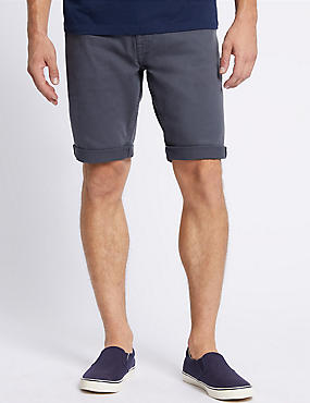 Garment Dye Denim Shorts, GREY BLUE, catlanding