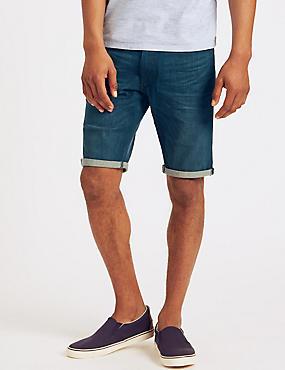 Cotton Rich Denim Shorts, MEDIUM INDIGO, catlanding