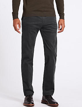 Straight Fit Corduroy Trousers with Stretch