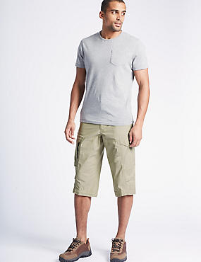 Cotton Rich 3/4 Leg Trekking Shorts, LIGHT STONE, catlanding