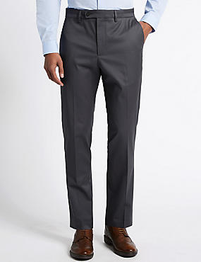 Cotton Rich Flat Front Trousers with Buttonsafe™