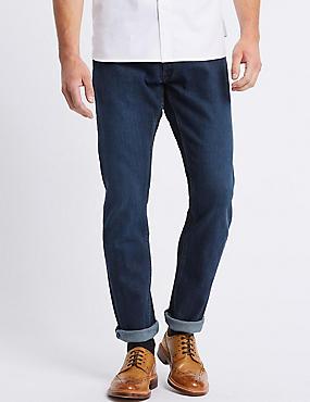 Slim Fit Selvedge Jeans with Stormwear™, MEDIUM BLUE, catlanding