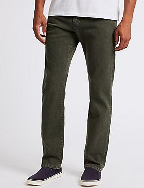 Regular Fit Stretch Jeans, GREEN, catlanding