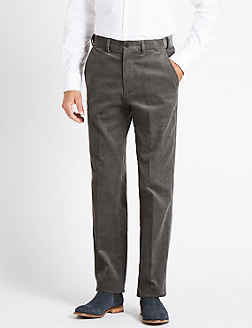 Big & Tall Pure Cotton Corduroy Trousers, MID GREY, catlanding