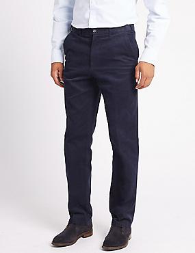 Regular Fit Pure Cotton Corduroy Trousers, AIR FORCE BLUE, catlanding
