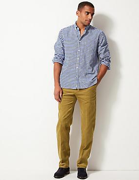 Regular Fit Pure Cotton Corduroy Trousers, CAMEL, catlanding