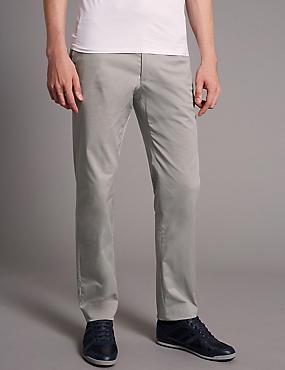 Slim Fit Stretch Cotton Chinos, GREY, catlanding