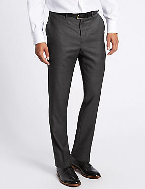 Tailored Fit Pure Wool Textured Trousers, CHARCOAL MIX, catlanding