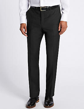 Tailored Fit Pure Wool Textured Trousers, BLACK, catlanding
