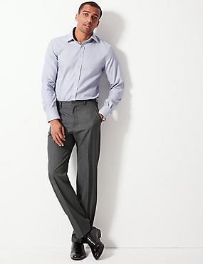 Regular Fit Flat Front Trousers, GREY, catlanding