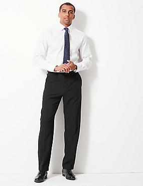 Regular Fit Flat Front Trousers, BLACK, catlanding