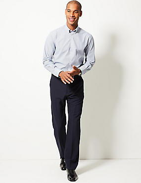 Regular Fit Flat Front Trousers, NAVY, catlanding