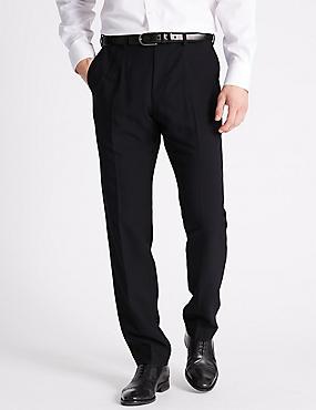 Slim Fit Flat Front Trousers, NAVY, catlanding