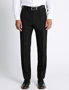 Big & Tall Regular Single Pleated Trousers, BLACK, catlanding