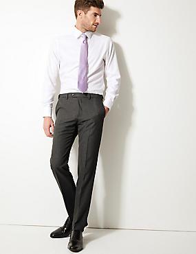 Slim Fit Flat Front Trousers, GREY, catlanding